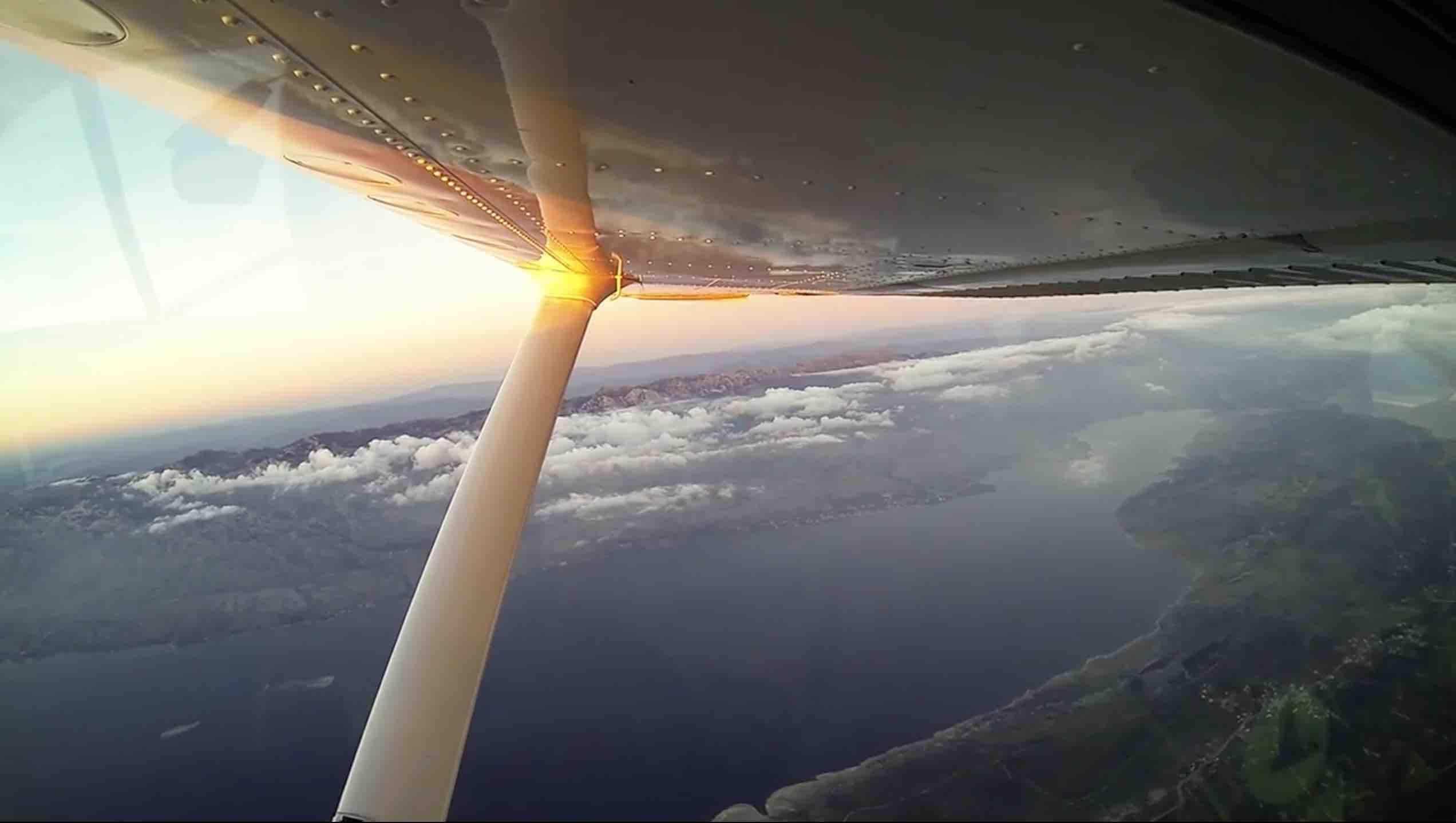Sunset skydiving in Croatia