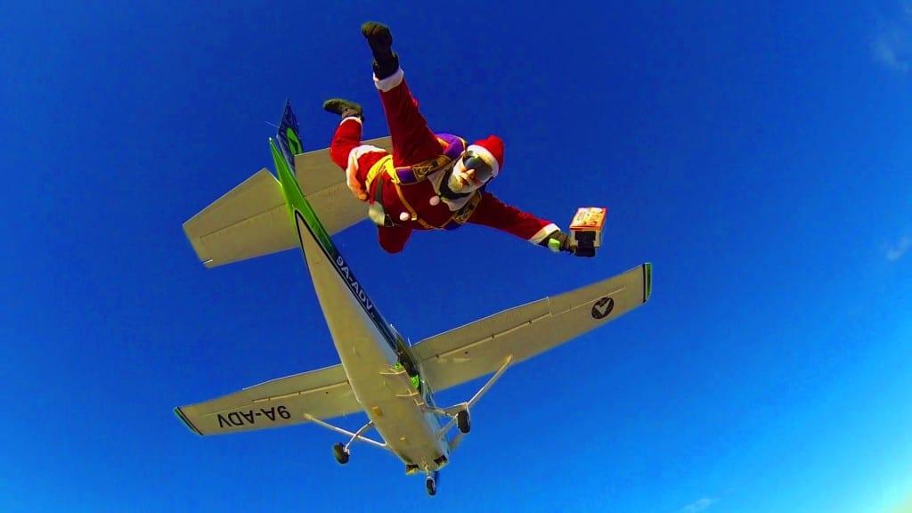 Skydiving santa calus in Croatia