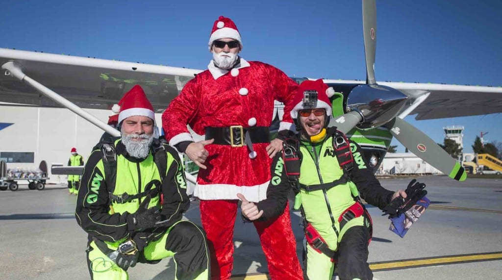 Santa claus skydiving in Croatia Zadar