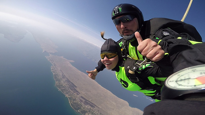 girl skydiving in Croatia