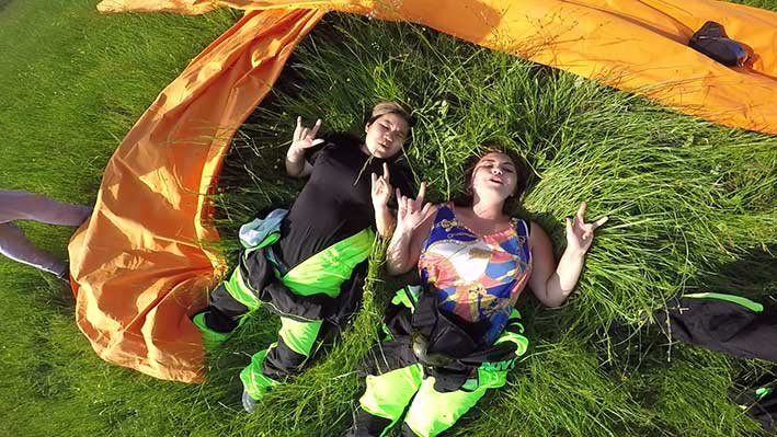 girls after tandem skydive