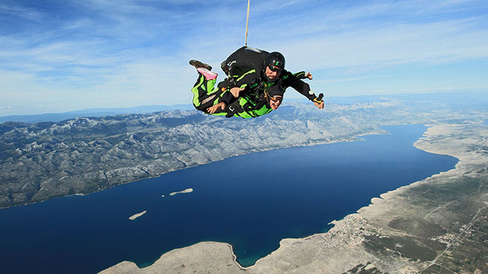 Skydiving in National park