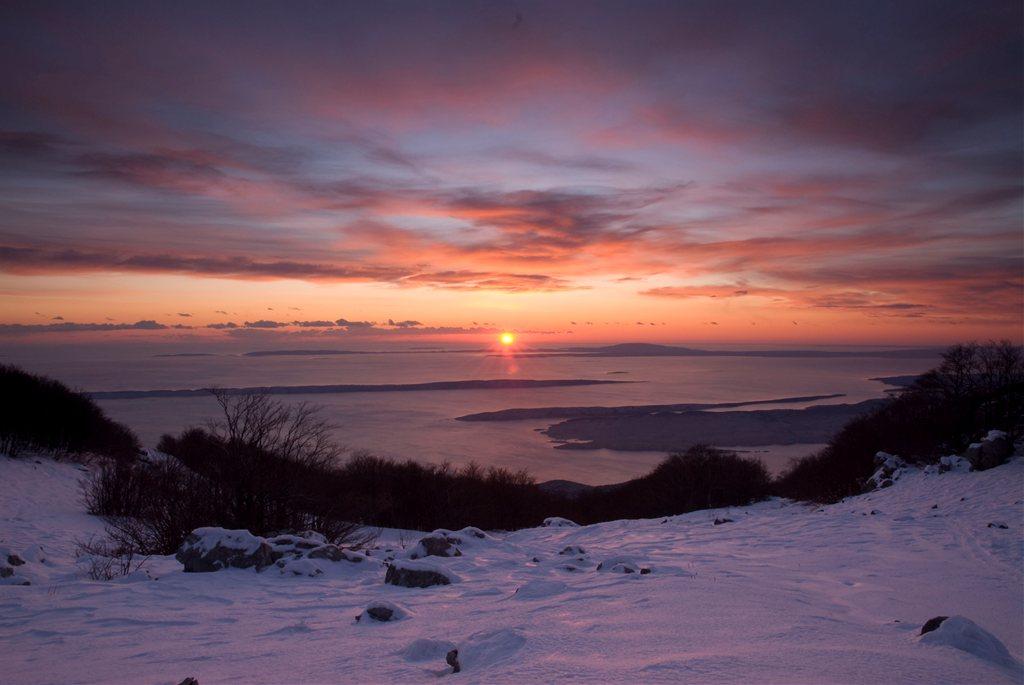 Winter view from Velebit to Rab