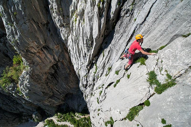 Climber high in Paklenica