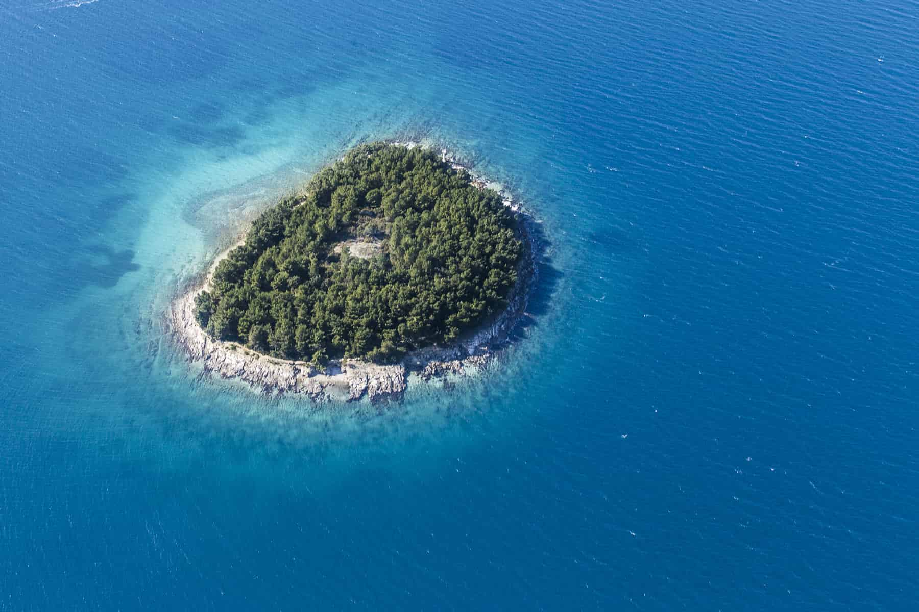 Island and clear sea