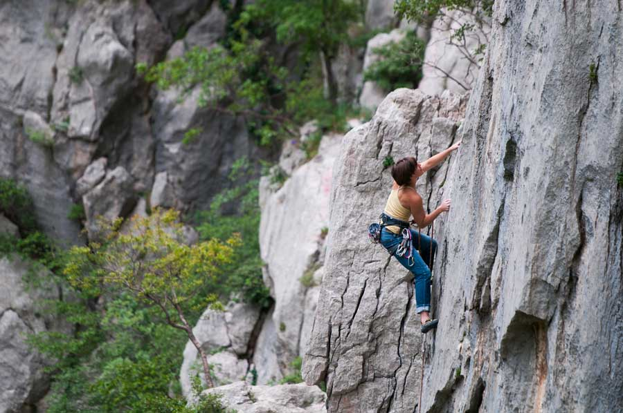 Rock climber in Paklenica NP