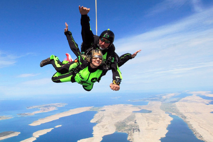 Happy skydiver in Croatia