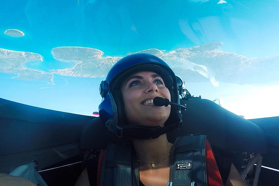 Aerobatic flight above sea