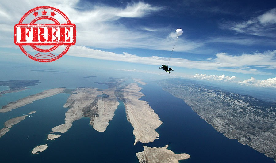 Free skydiving in Zadar Croatia