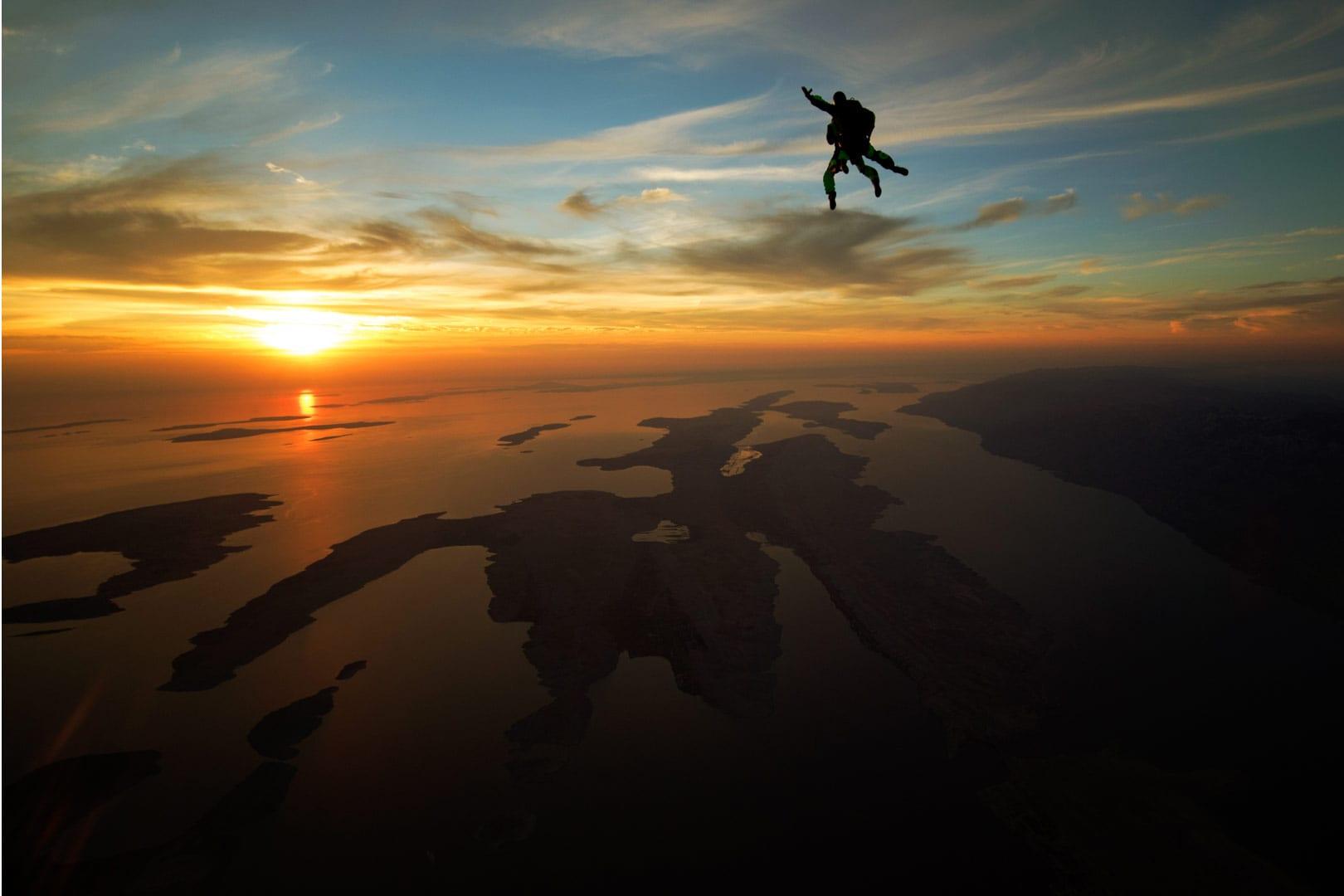 Sunset skydiving Croatia