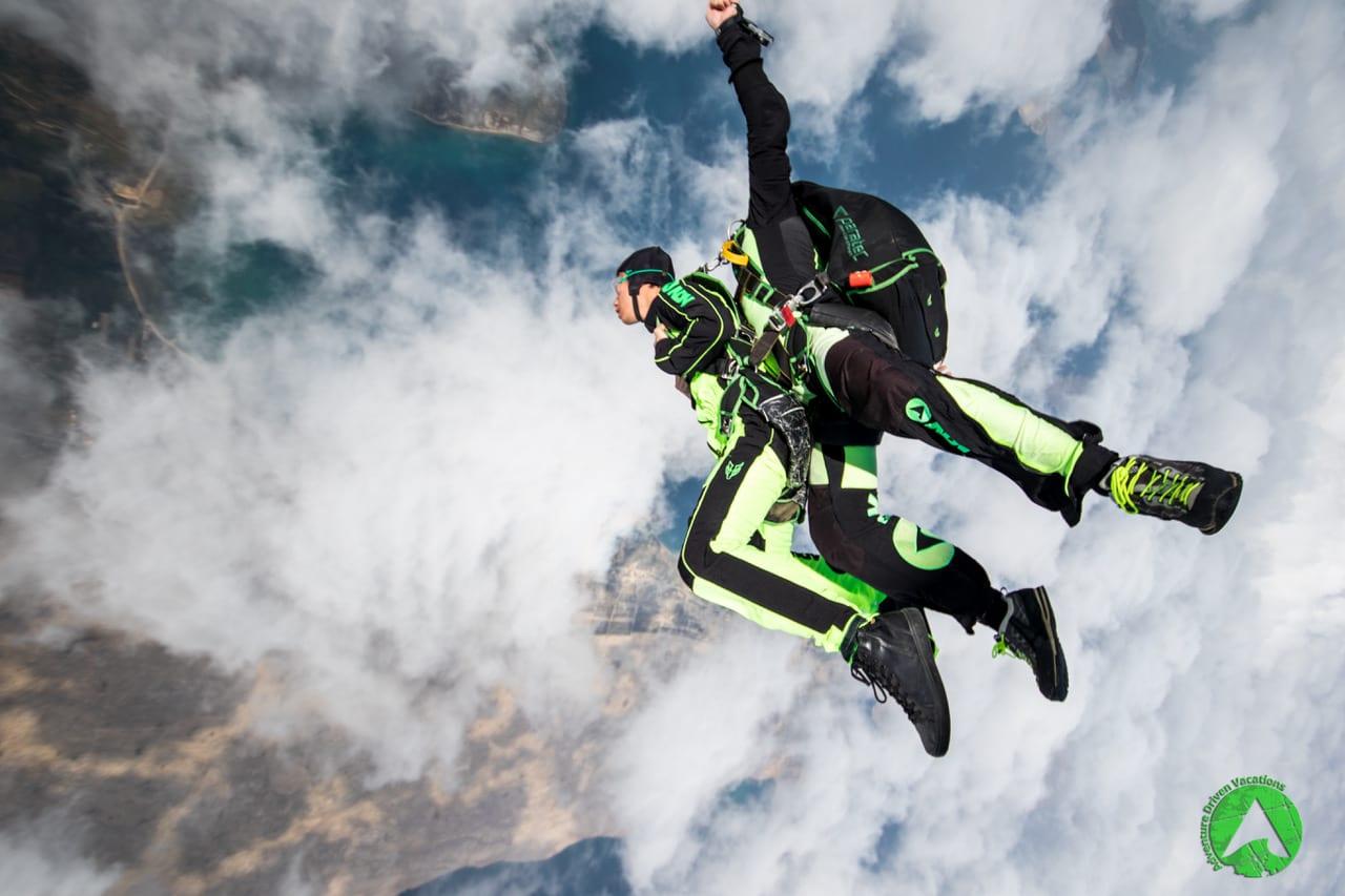 Skydive above clouds in Croatia Zadar