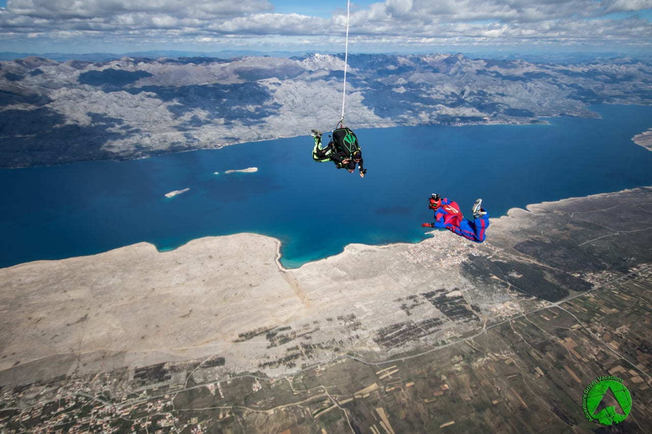 Skydive in Zadar Croatia with the view on National parks
