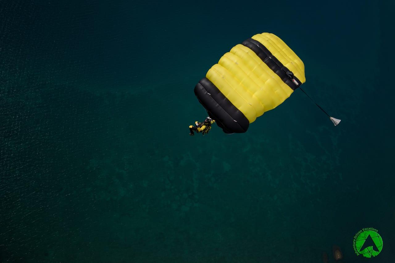 Enjoying parachute flight above sea in Croatia Zadar