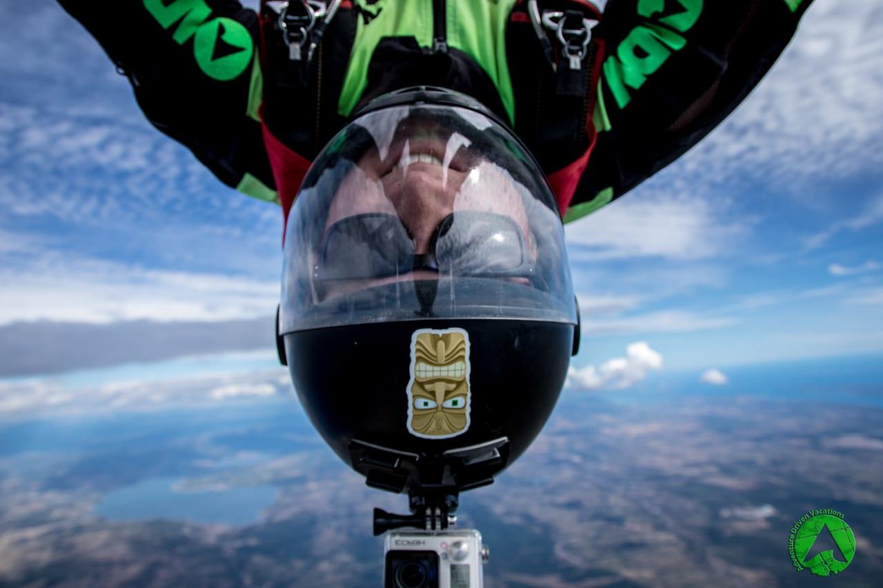 Skydiving Zadar Croatia selfie in Freefall